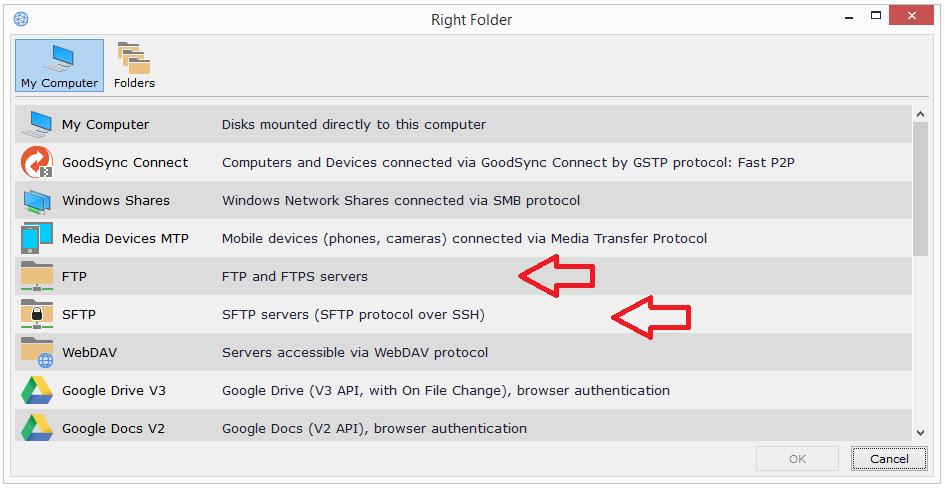 FTP/SFTP – GoodSync