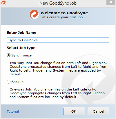 Syncing to OneDrive – GoodSync