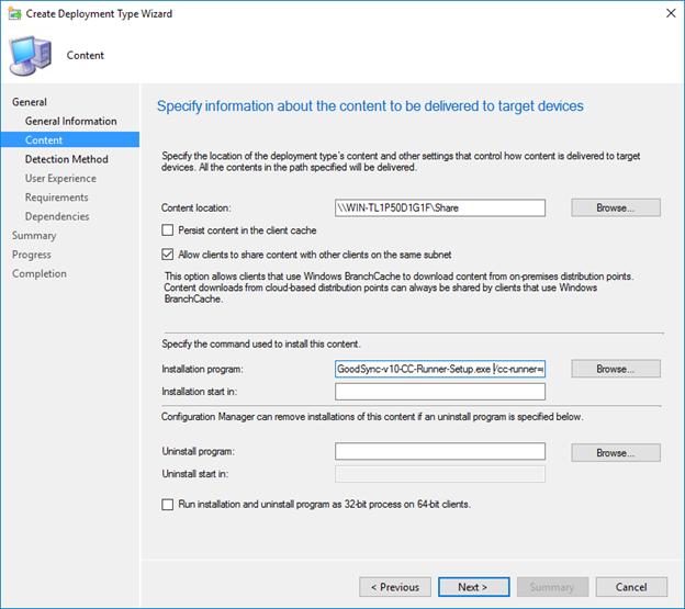 Mass Deployment through SCCM (Windows) – GoodSync